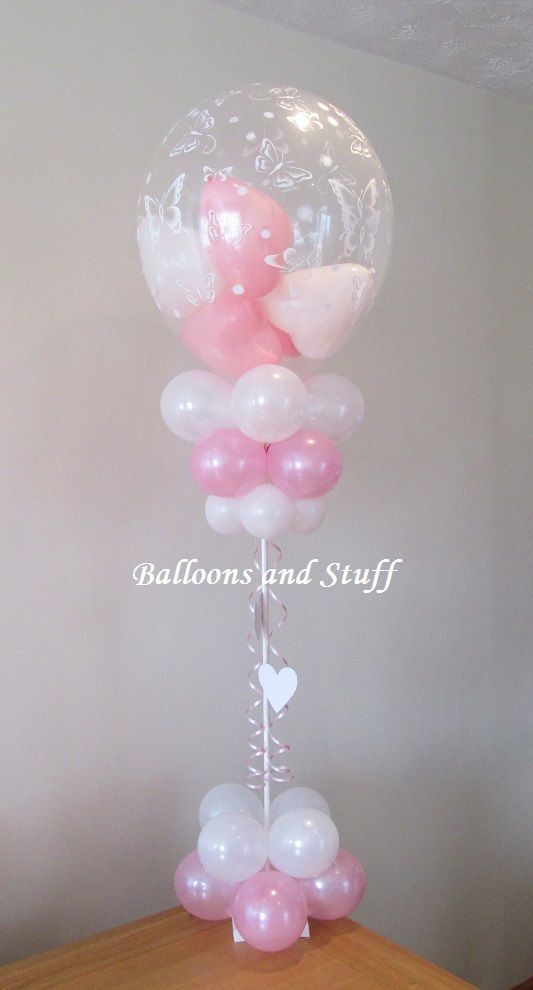 Balloon table centrepiece decoration great for for Balloon decoration ideas for christening