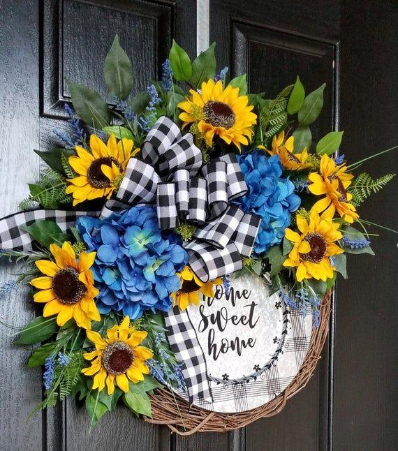 Photo of Wreath for Front Door, Sunflower Wreath, Summer Wreath