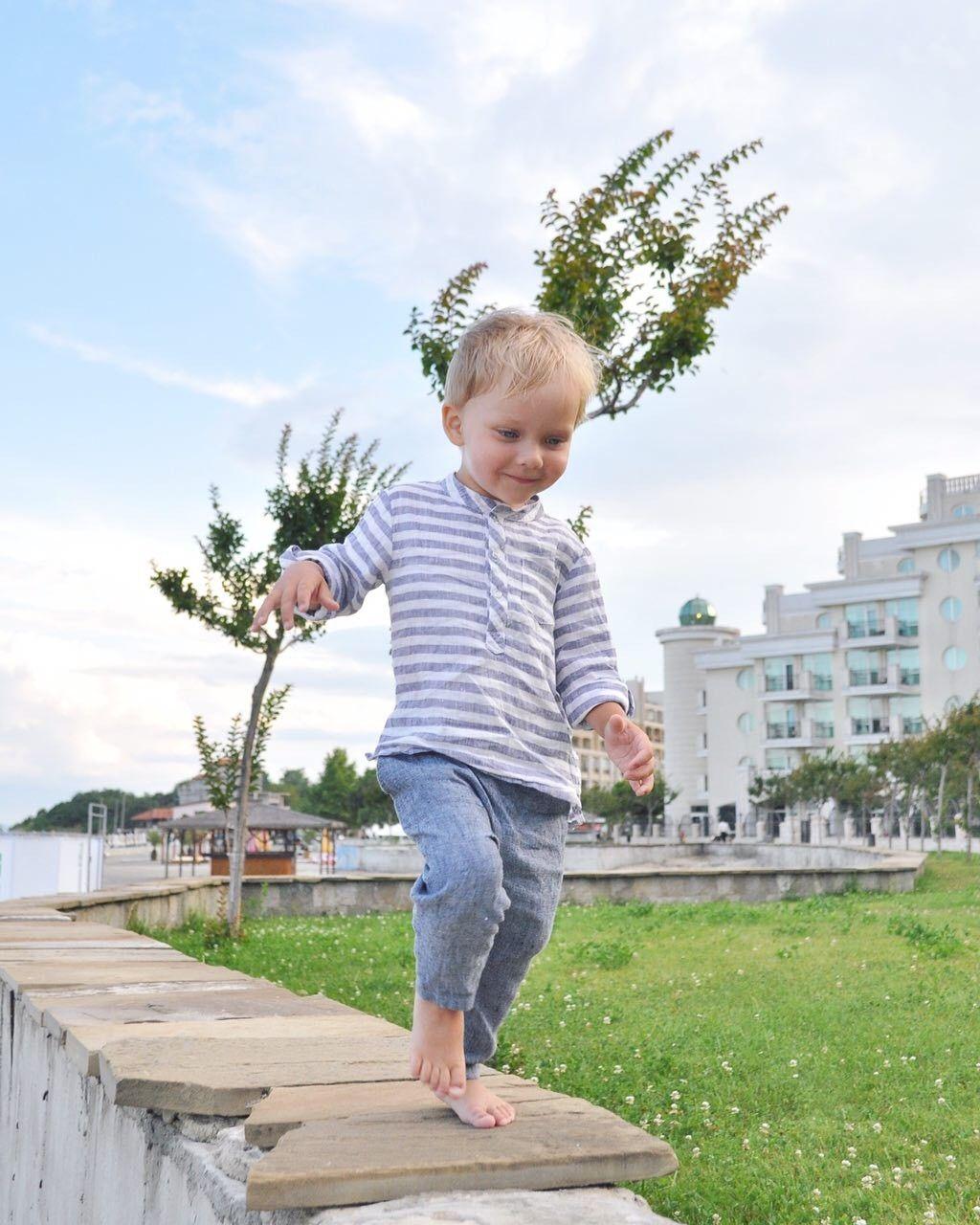 87178e898 Boys Linen Long Sleeve Shirt - Boys Blue-White Striped Shirt - Boys Dress  Shirt - Boys Mandarin Collar Shirt - Toddler Boy Pearl Snaps Shirt
