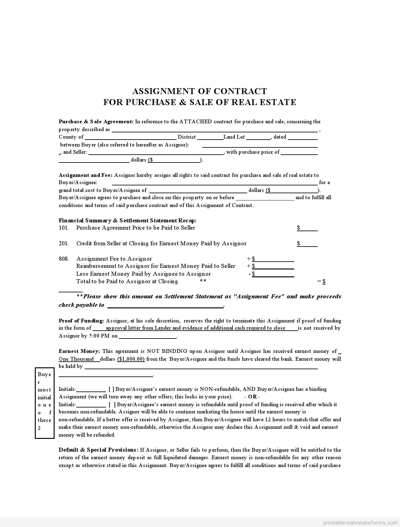 Sample Printable Assignment Of Contract Form  Sample Real Estate