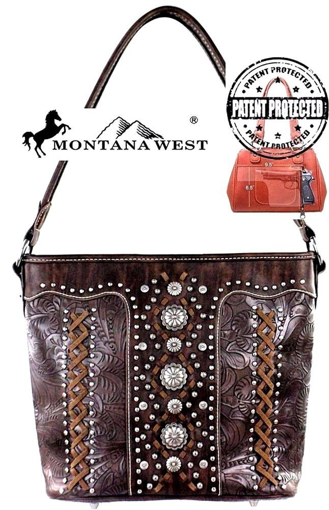 d1615735b Montana West~Concho Style Hobo Handbag~Western Tooled Conceal Carry Purse ~Coffee…