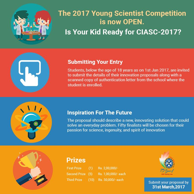 The Young Scientist #Competition is now OPEN. Is Your Kid Ready For #CIASC-2017? Visit for details https://goo.gl/Lzw7ay #Science #CSIR