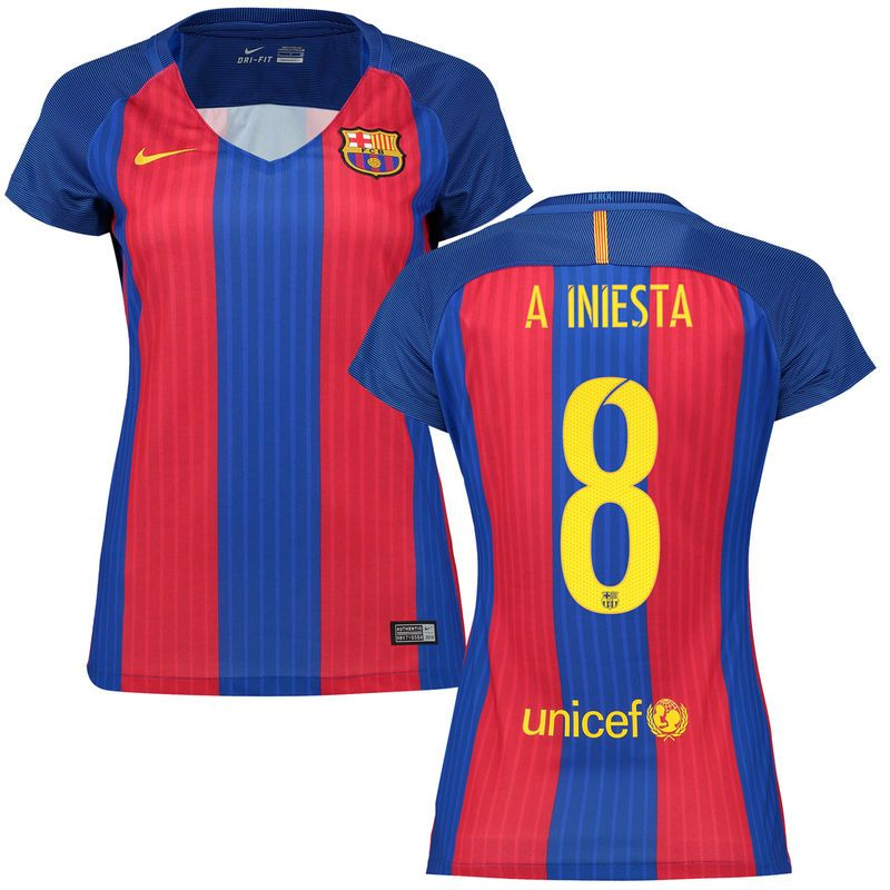 Andres Iniesta Barcelona Nike Women's 2016/17 Home Replica Jersey