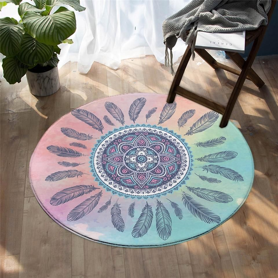 Watercolor Boho Style Dreamcatcher Floral Area Rugs Living Room Floor Mat Rug