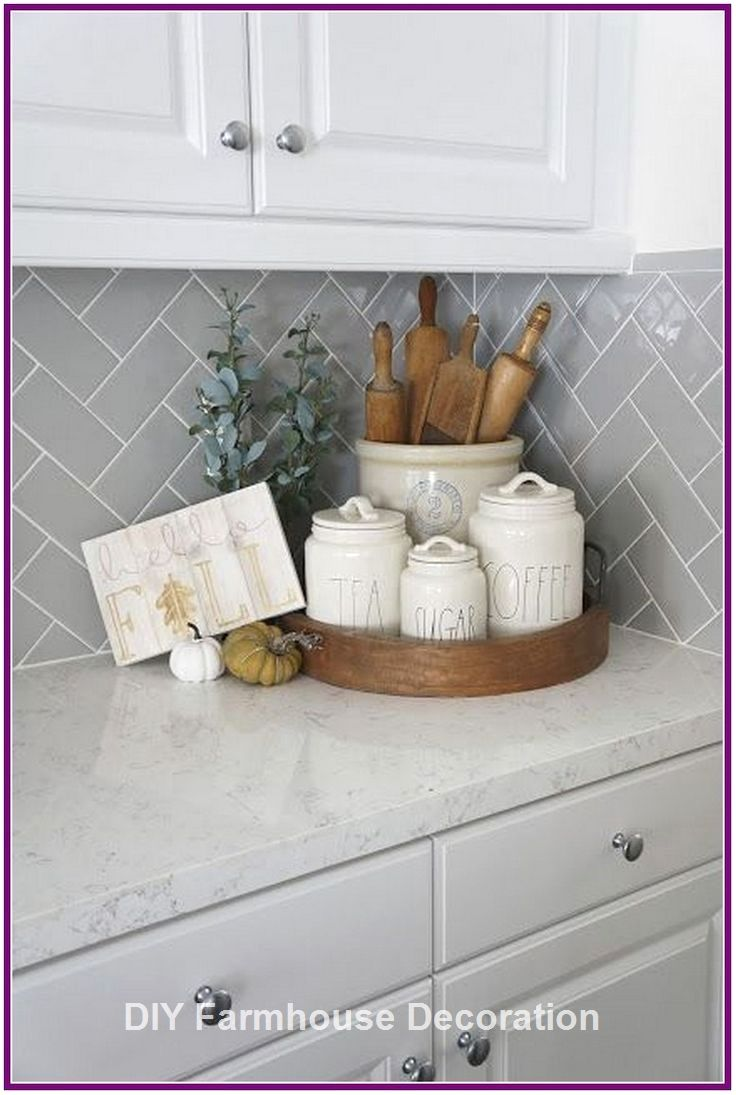 Diy Easy And Great Farmhouse Decor Ideas Diyfarmhouse Farmhousedecor Kitchen Counter Decor Home Decor Kitchen Modern Kitchen Counters Decorations for kitchen counters