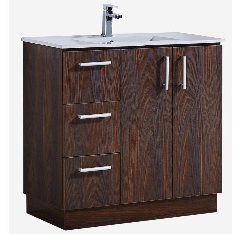 35 Bathroom Vanity With Ceramic Sink In Brown Elm Wood Texture Finish Single Bathroom Vanity Bathroom Vanity Contemporary Bathroom Vanity