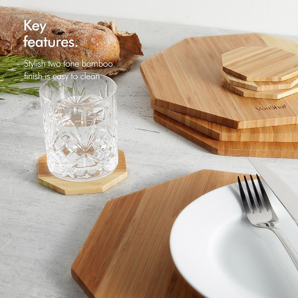 Bamboo Placemats Coasters Two Tone Vonshef Bamboo Placemats Placemats Modern Placemats