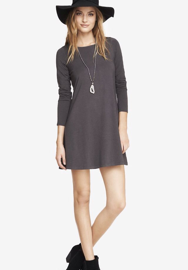 GRAY LONG SLEEVE ZIP BACK TRAPEZE DRESS from EXPRESS