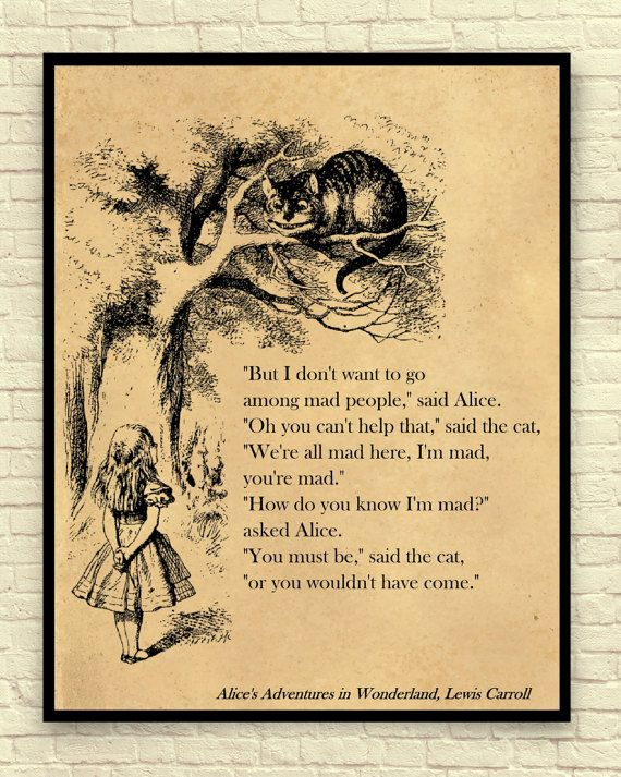 Alice in Wonderland Art Print, Alice in Wonderland Wall Art, Book ...