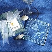 Shell and Starfish Frosted Glass Coasters (set of 4)