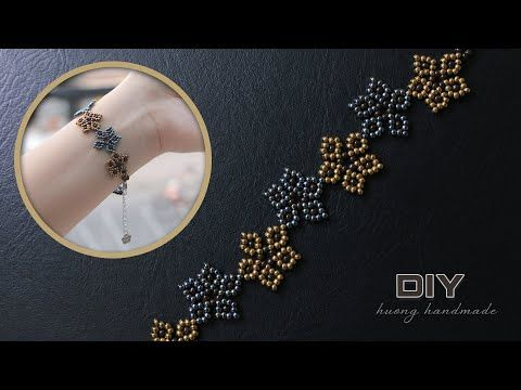 Beaded bracelet with seed beads tutorial. Jewelry