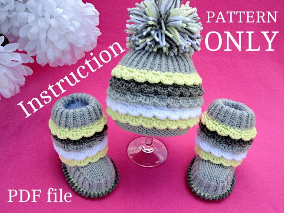 Knitting Pattern Baby Set Infant Baby Hat Babies Baby Shoes Newborn