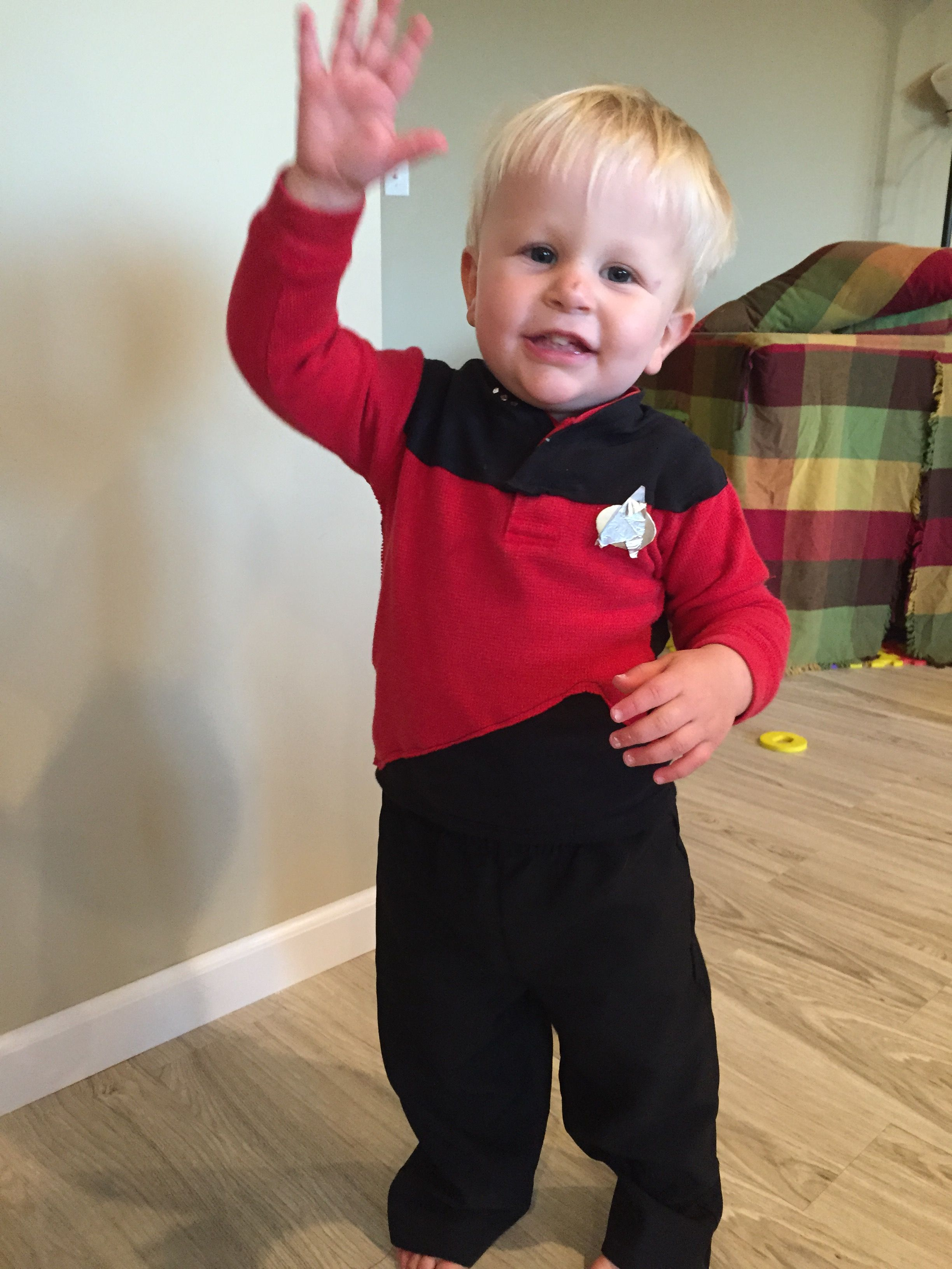 Diy Star Trek Costume Success What A Cute 18 Month Old Captain Picard I Made By Sewing Black T Sh Star Trek Costume Diy Superhero Costume Super Hero Costumes
