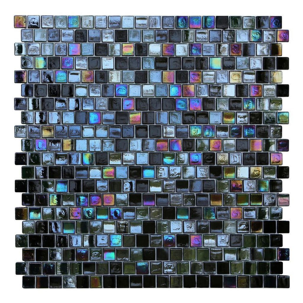 Opal Black Glass Mosaic Wall Tiles (Pack of 10) (Cosmos Offset ...