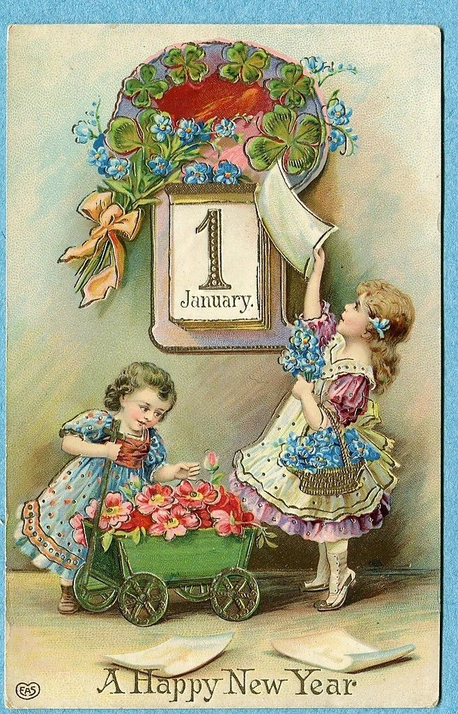 vintage New Years postcard * For free Christmas toys