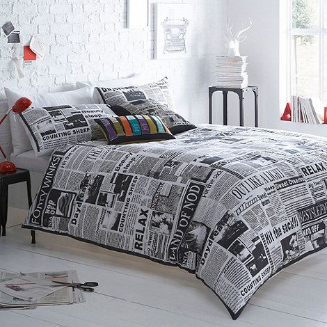 Ben De Lisi Grey Hot Off The Press Bedding Set At