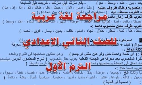 مراجعة لغة عربية للصف الثاني الاعدادي الترم الأول شاملة فروع اللغة العربية نتعلم ببساطة Math Math Equations Arabic Calligraphy