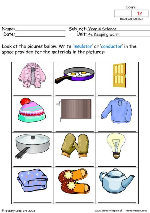 PrimaryLeap.co.uk - Insulator or conductor 1 Worksheet | Education ...