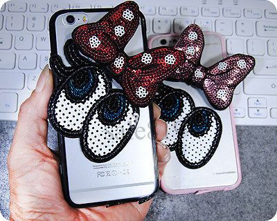 Fashion Sparkle Bling Bow Glitter Eyes Hard Clear Case Cover For Verious Phones