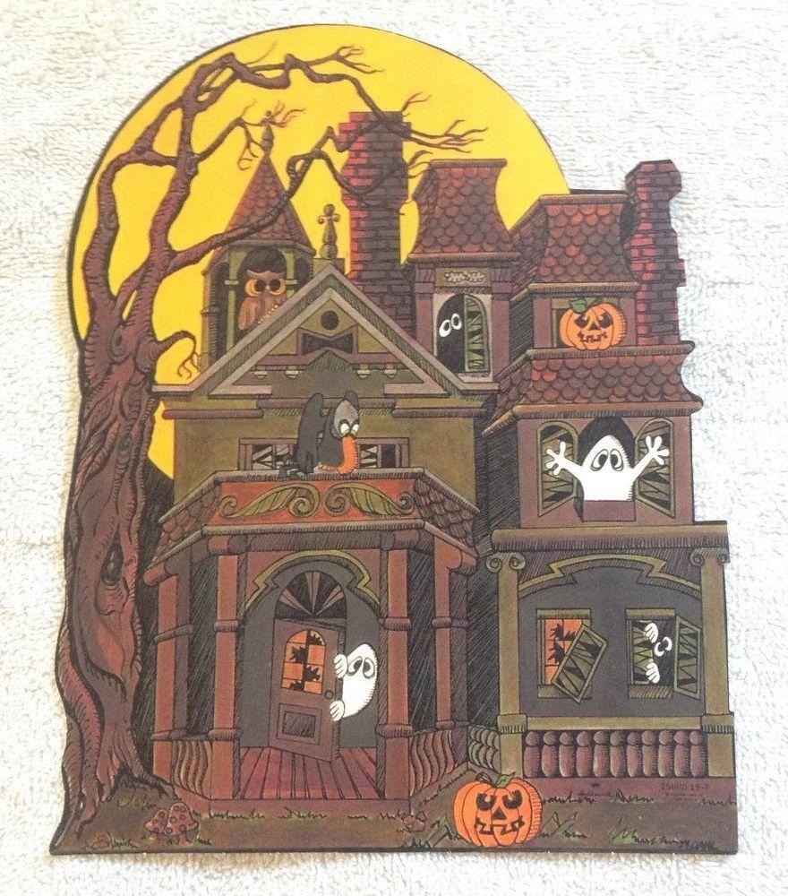 1960s halloween decorations - Vintage Hallmark Halloween Die Cut Out Decoration Haunted House Ghost Owl Jols
