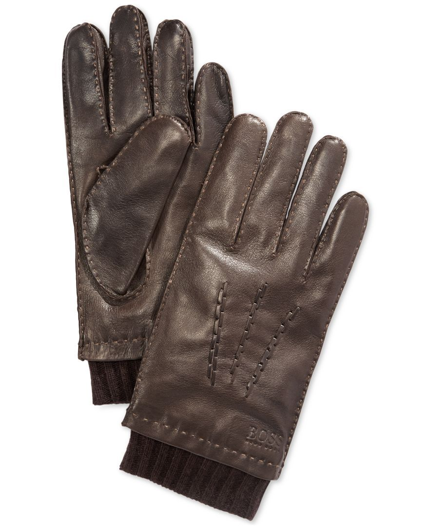 Mens leather gloves boss - Hugo Boss Heylor Leather Gloves Hats Gloves Scarves Men Macy S