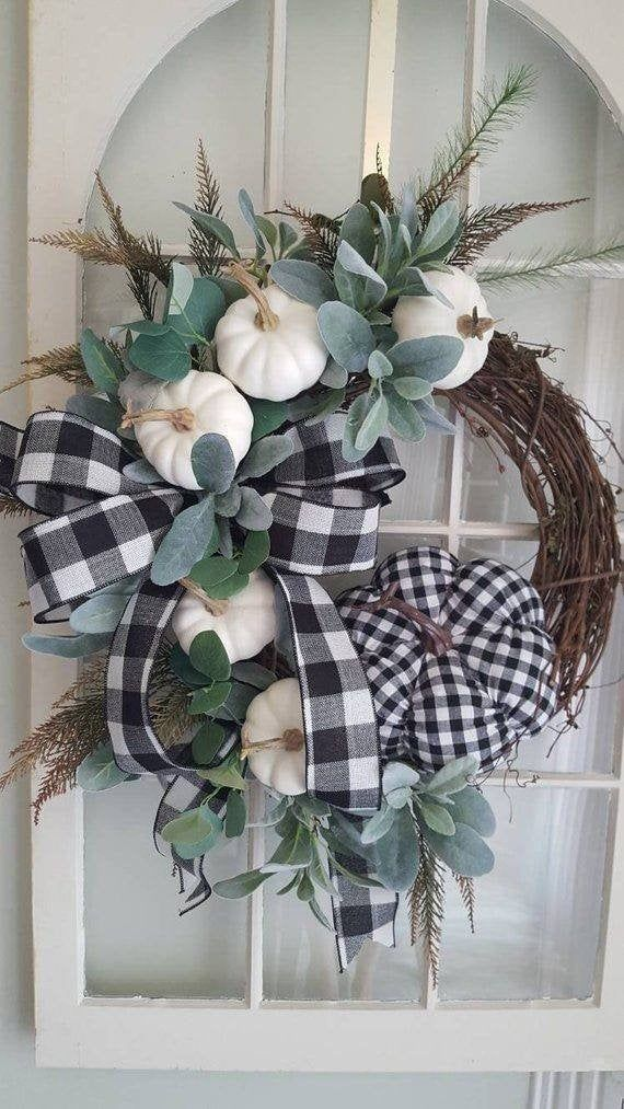 Fall Farmhouse  wreath,  farmhouse  door wreath,white pumpkin wreath,elegant halloween wreath, buffalo check wreath, fall buffalo check #fallwreaths