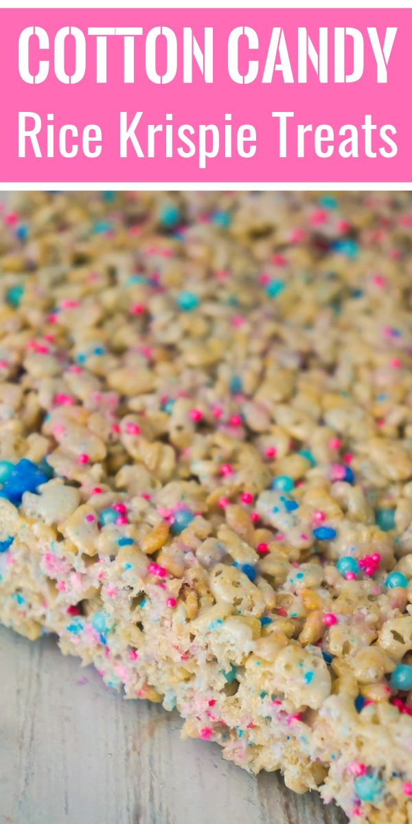 Colourful marshmallow cereal treats loaded with cotton candy and pink and blue sprinkles  This easy dessert recipe is perfect for baby showers, gender reveals and kids' birthday parties  is part of Dessert recipes -