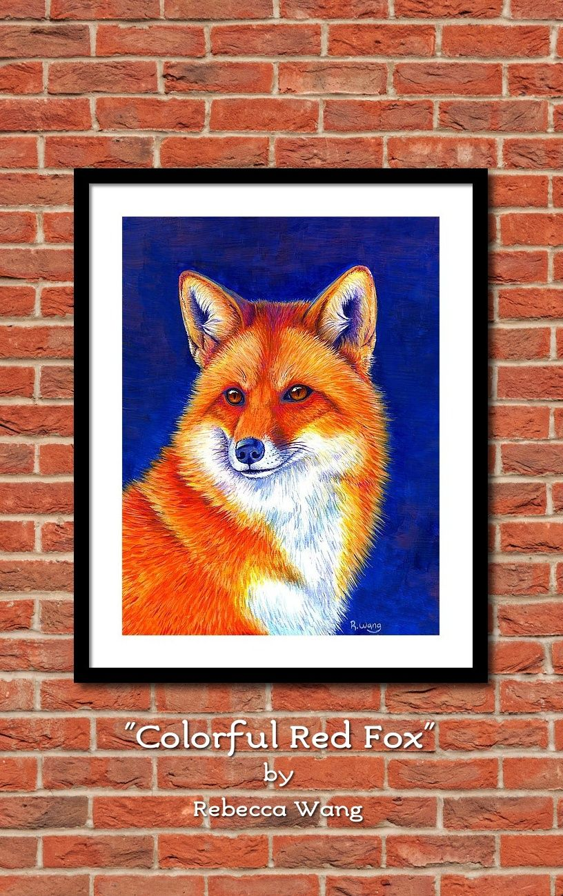 Colorful red fox painting is now available for purchase as wall art home decor gifts and accessories in my online stores please click here and find out