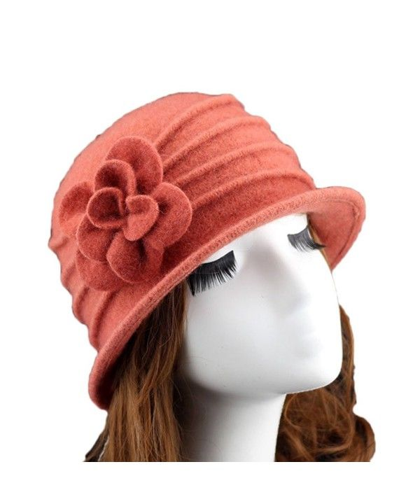d55dd3a6f6bc1 Women 100% Wool Solid Color Round Top Cloche Beret Butterfly Fedora Hats  Orange CC186WZ2L0T in 2019
