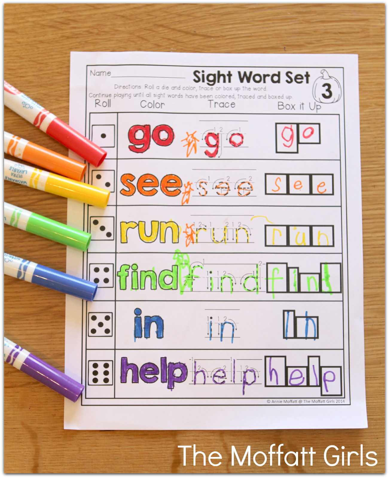 Sight Words Roll A Read A Word Color Trace Or Box