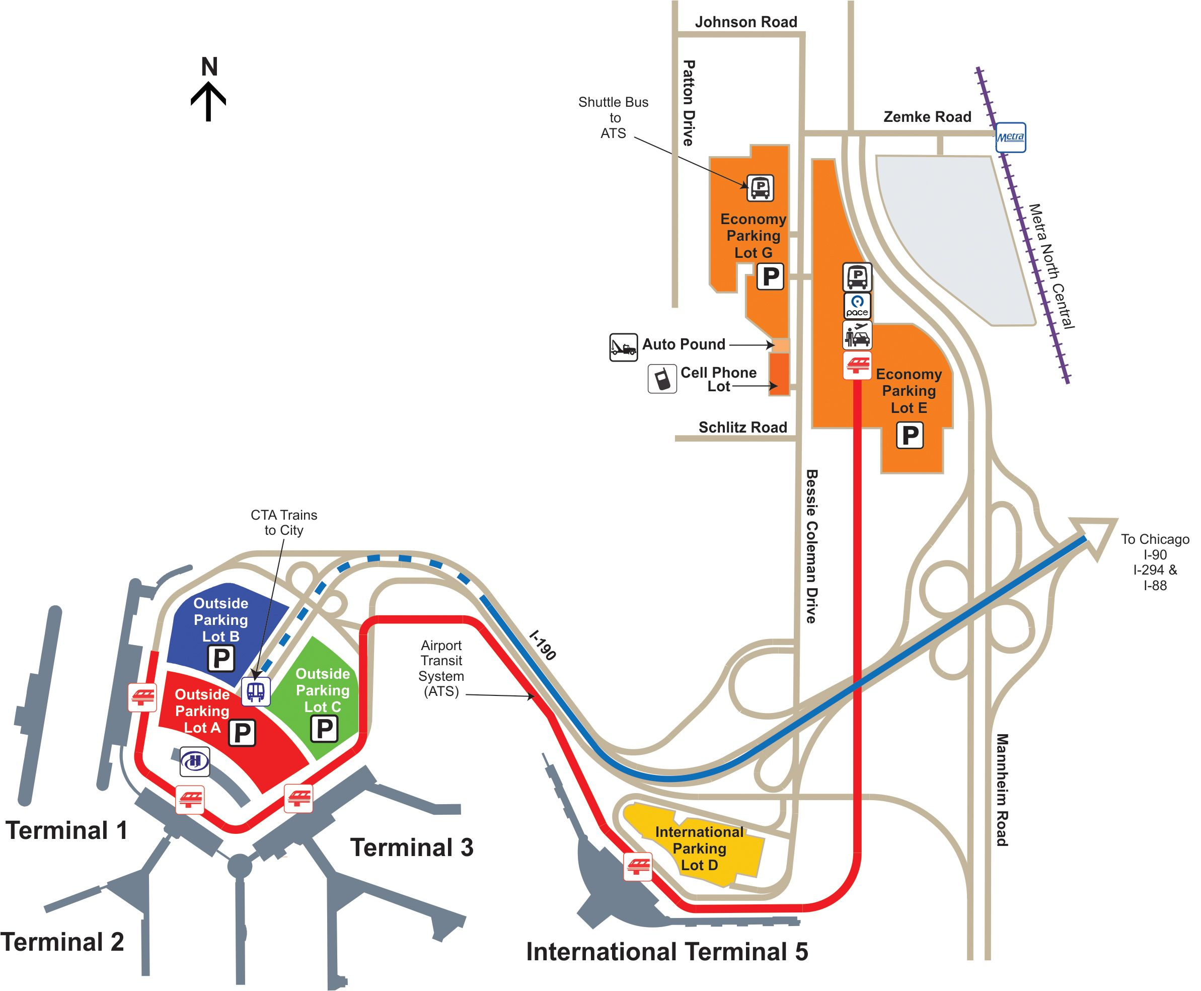 Ord Full Parking Map Jpg 2386 1968 O Hare International Airport Airport Ord