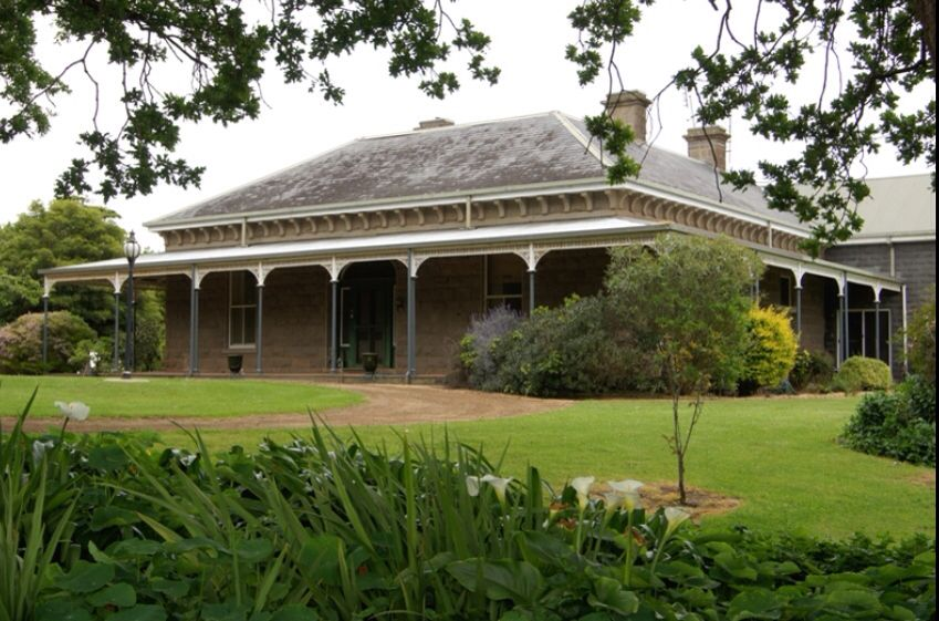 Oakbank, Heywood, is a beautiful old bluestone homestead that has views that span all the way to Portland. The pro… | Australia house, Homestead house, Facade house