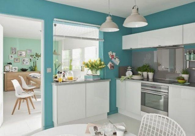 Decoracion cocina turquesa cocina pinterest cocina for Pinturas para interiores de casas 2016