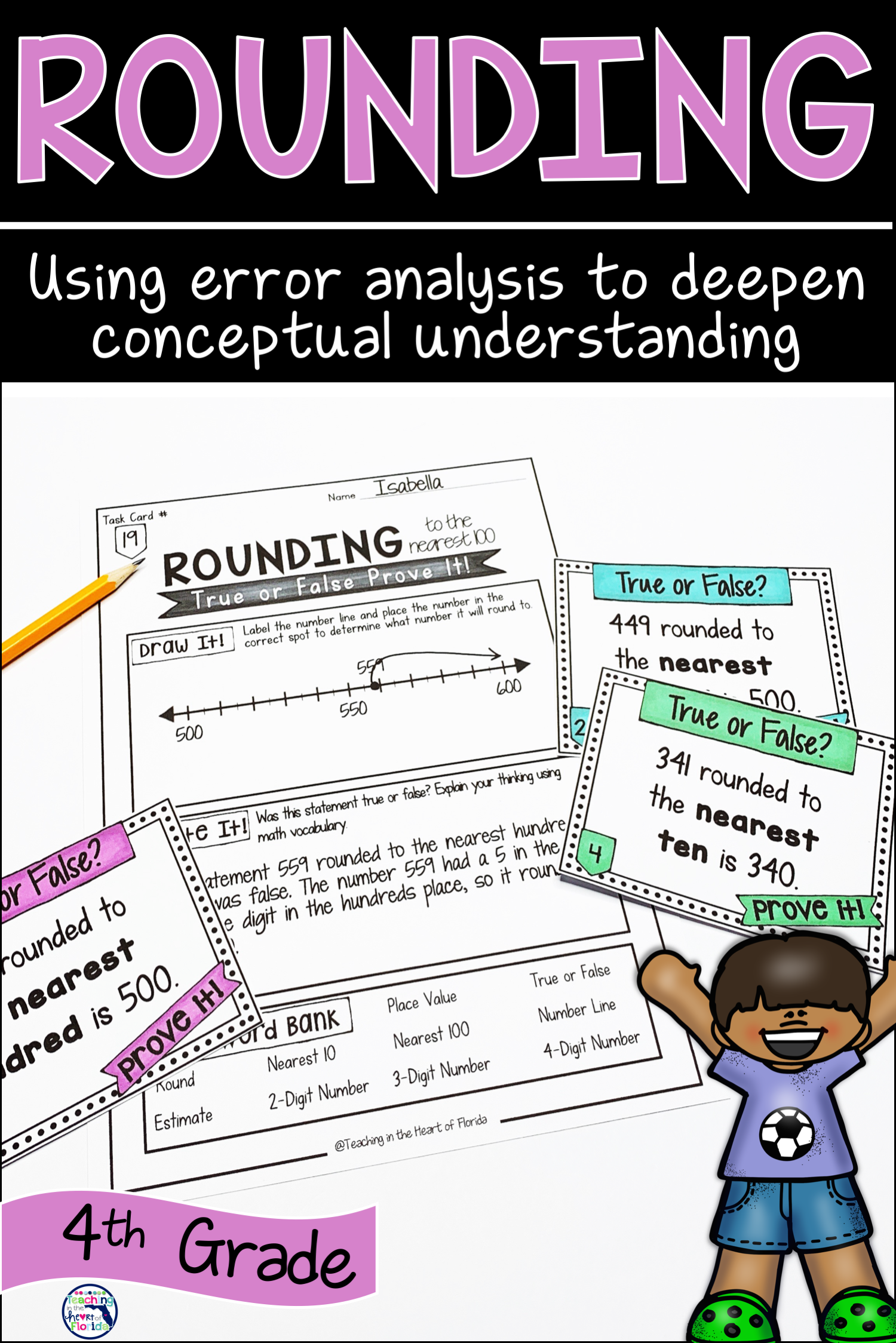 Rounding Task Cards Errorysis Math 4th Grade