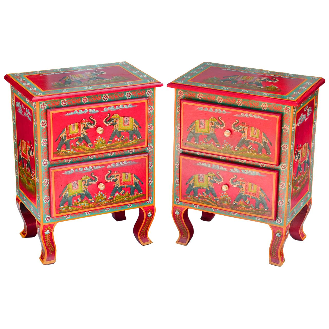 Set Of 2 Bedside Cabinets 2 Drawers Red Elephant Design Elephant Design Rustic Chest Design