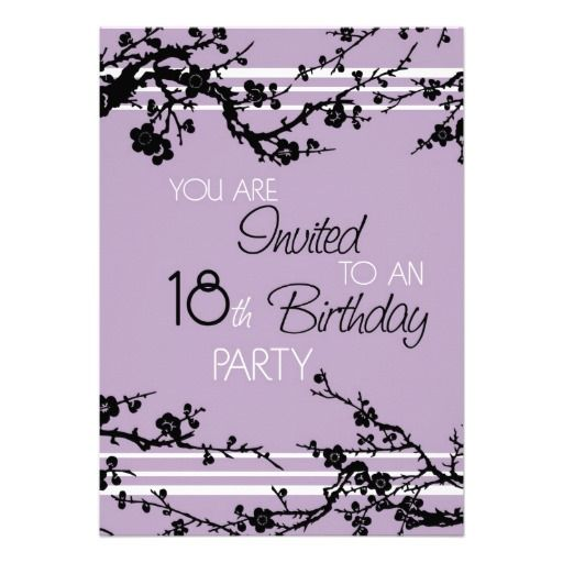 purple 18th birthday party invitation