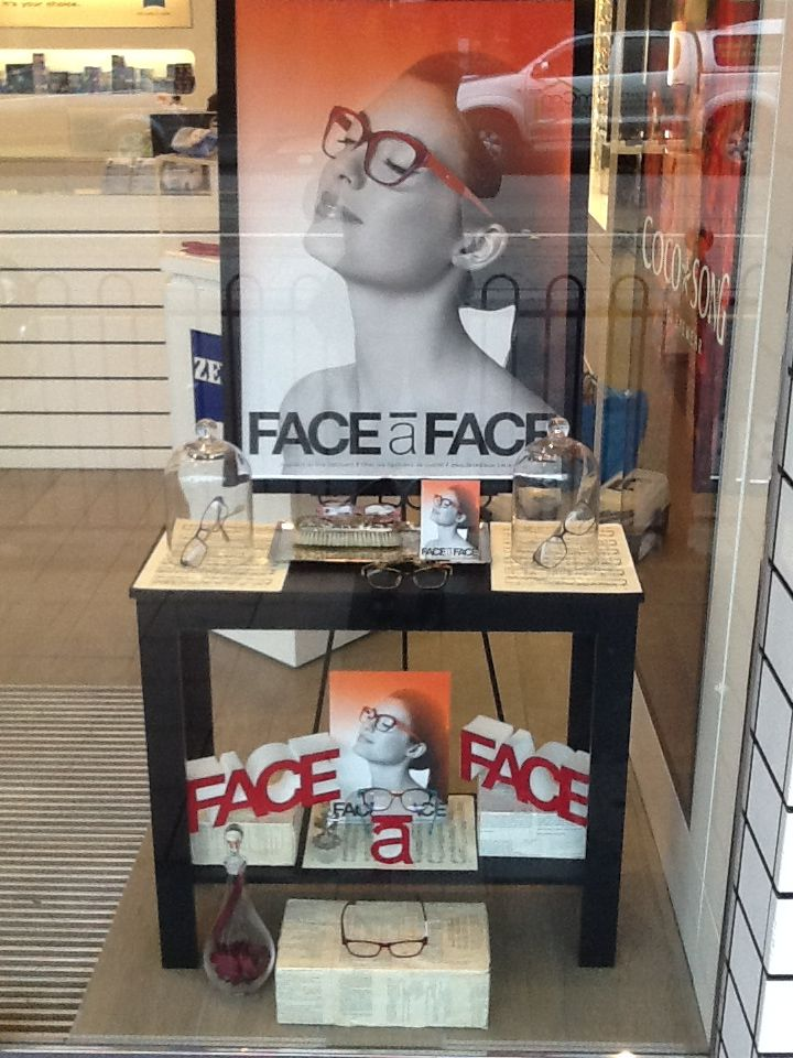 7ae2c8edcbf Face a face eyewear window display by Through the looking glass retail  window stylist Melbourne.