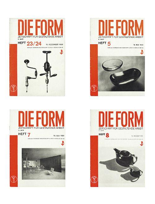 Die Form, design magazine, Zeitschrift für gestaltende Arbeit, 1930-31. Published by Herman Reckendorf, Berlin - Deutscher Werkbund.