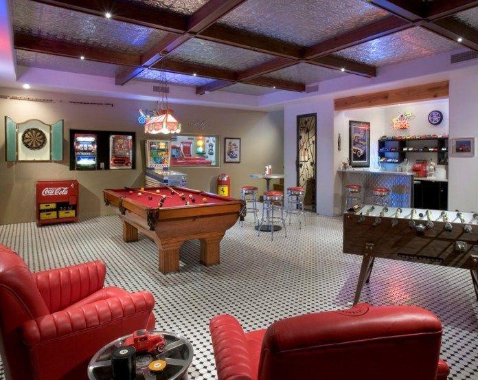 Black And White Garage Game Room Best Man Caves Garage Game