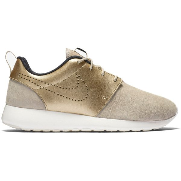 777f502fe5f Nike Women s Roshe One PRM Suede Gold ( 150) ❤ liked on Polyvore featuring  shoes