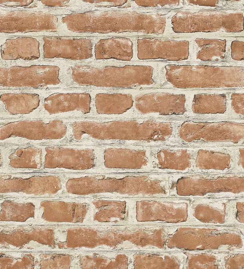 Papel pintado muro de ladrillo marr n caldera estilo industrial 1005744 decoraci n - Papel pared ladrillo ...