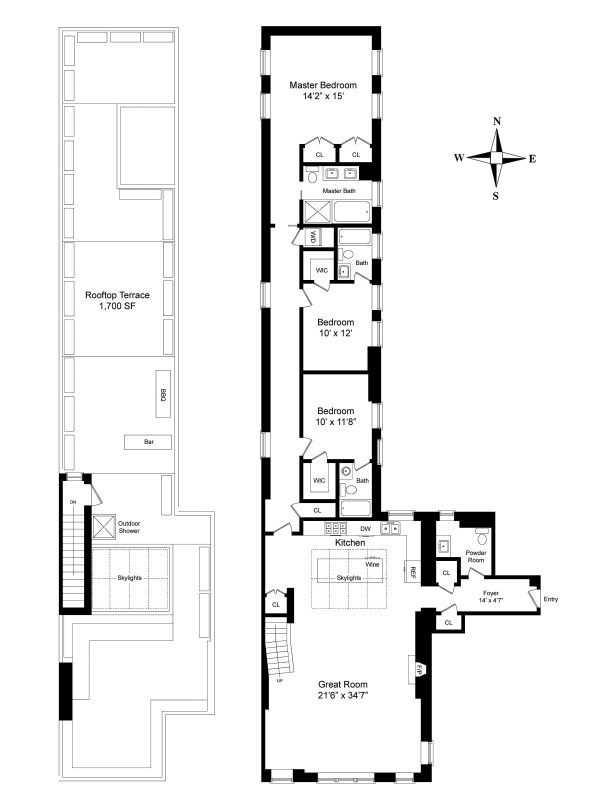 Love The Roof Deck The Rest Just Ok Gramercy Park Nyc Apartment Floor Plans Floor Plans Pent House
