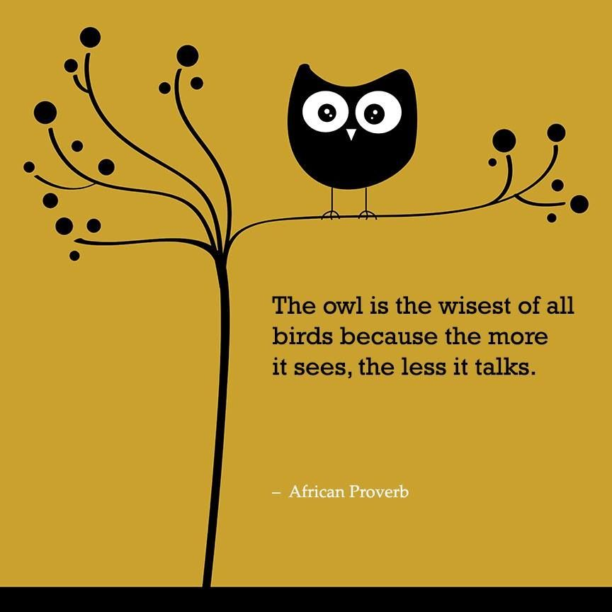 My Grandma Massey used to always tell me: The wise old owl