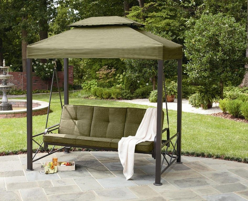 Outdoor Winning Gazebo Patio Swing Green Polyester Canopy Bronze Steel Frame Three Person Seater Green Comfy & Outdoor Winning Gazebo Patio Swing Green Polyester Canopy Bronze ...