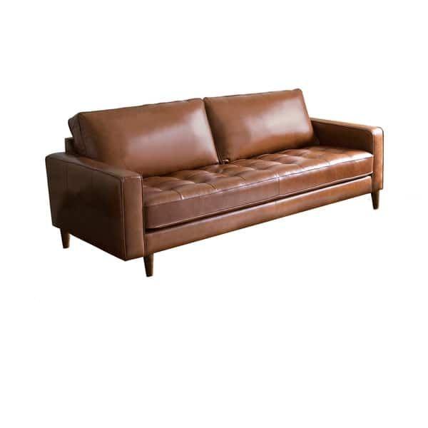Abbyson Holloway Mid Century Top Grain Leather Sofa