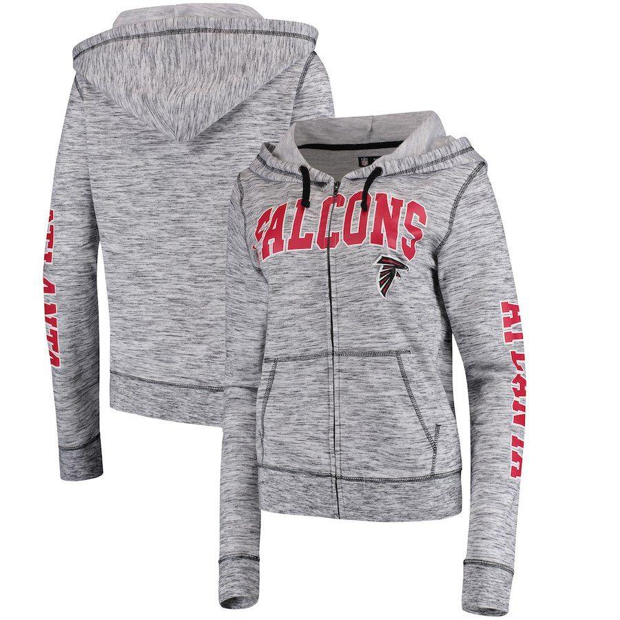 5th Ocean By New Era Atlanta Falcons Women S Heathered Black Athletic Space Dye Full Zip Hoodie Atlanta Falcons Women Athletic Women Full Zip Hoodie