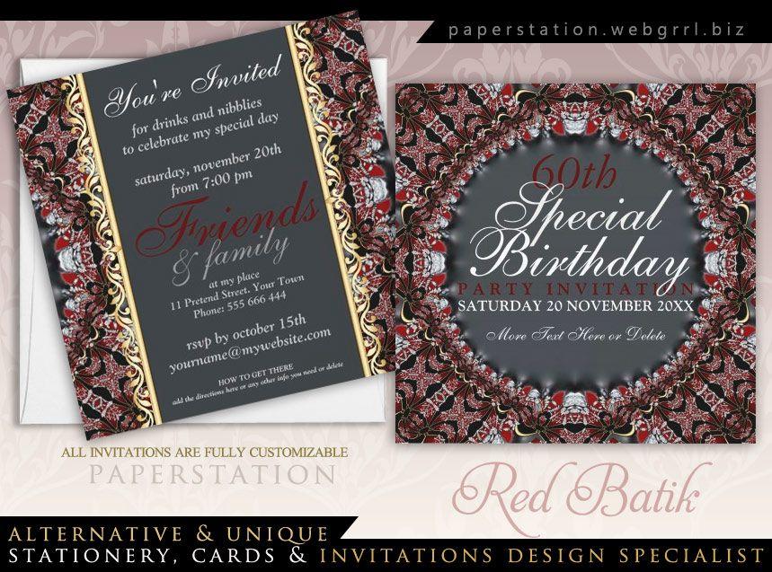Look it up close! Red Jewel Batik Diamond 60th Birthday Invitations ...