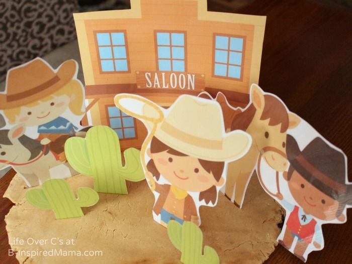 Have your kids ever used printables with their playdough?  Wild West Playdough Fun with Free Playdough Printables at B-Inspired Mama