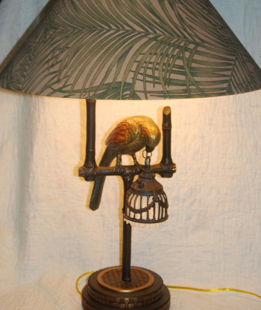 Frederick cooper lamp polly by night nite light lite metal bird original parrot tropical frederickcooper