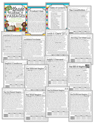 $3 - 4th Grade Social Studies Fluency Passages (The